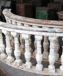 Old half round wooden balustrade-3