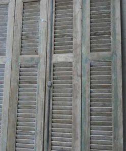 Antieke vergrijsde set louvre luiken / deuren-2