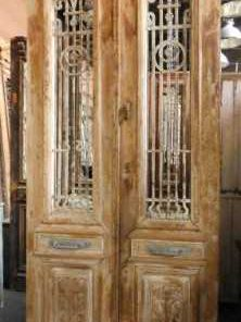 Antieke Franse deur met smeedijzeren hekwerk 247x100 cm-1