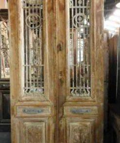 Antieke Franse deur met smeedijzeren hekwerk 247x100 cm-2