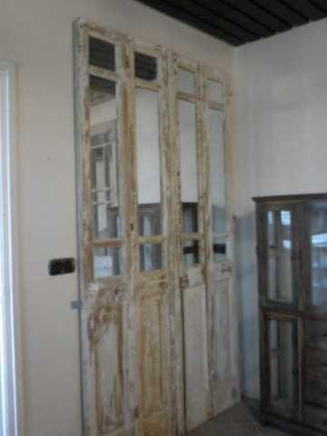 Antieke 4-slag deuren met spiegels-1