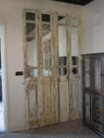 Antieke 4-slag deuren met spiegels-2