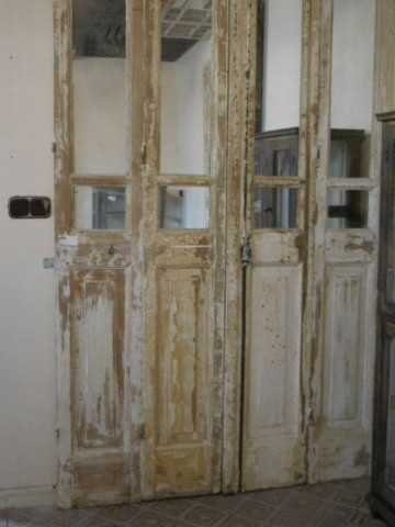Antieke 4-slag deuren met spiegels-5