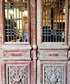 Antique carved French doors in frame-1