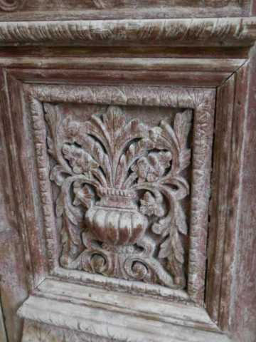 Antique carved French doors in frame-3