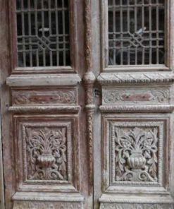 Antique carved French doors in frame-4