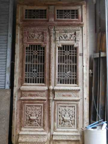 Antique carved French doors in frame-5