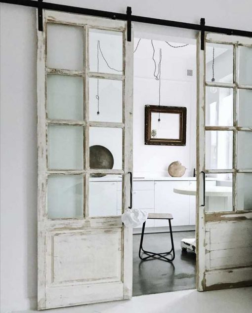 Antique double doors with windows with roller sliding system-1