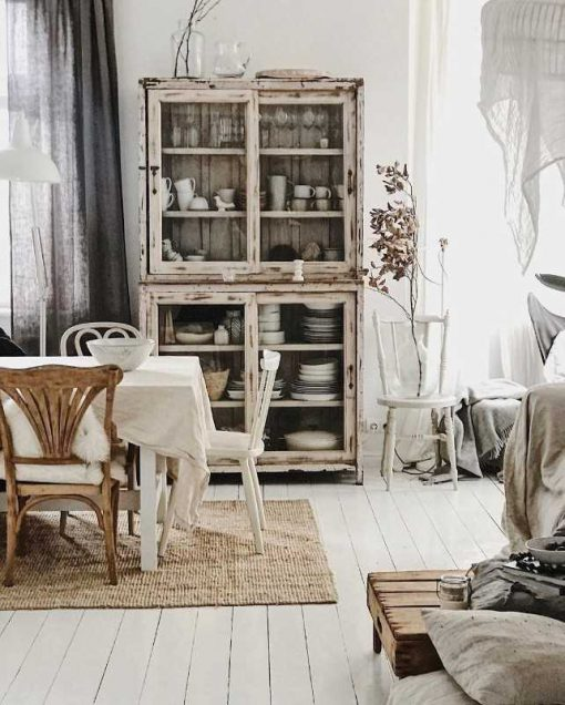 Vintage white sanded display cabinet-1