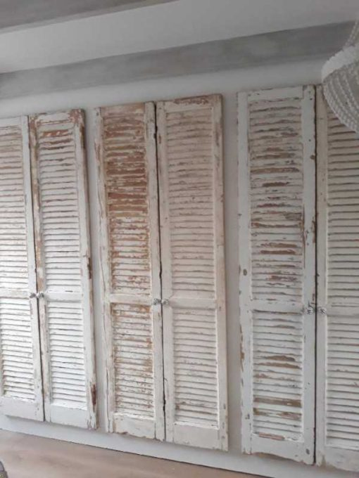 Fitted wardrobe in bedroom of antique louvre blinds / shutters-3