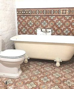 Antique motif tiles in bathroom-1