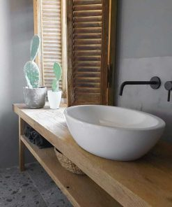 Antique leached shutters in the bathroom-1
