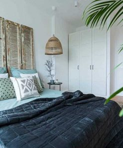 Antique shutters as bed wallboard-3