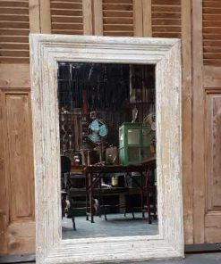 Spiegel met whitewash houten frame 120x80 cm-1
