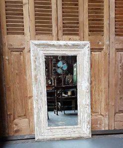 Spiegel met houten white wash lijst 100x60 cm-1