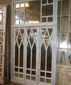 Antique white window front with mirrors-1