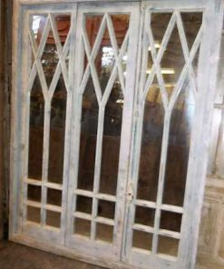 Antique white window front with mirrors-3
