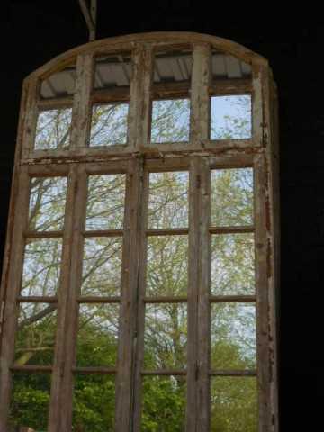 Groot antiek raam met spiegels-3