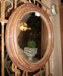 Antieke ronde spiegel met houten frame-3