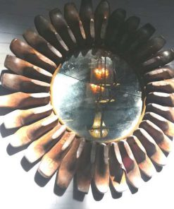Round mirror made of antique wooden shoe molds-1