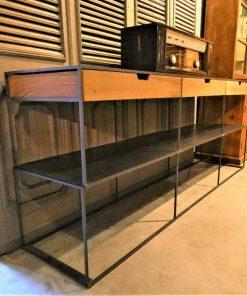 Sidetable met laden van metaal met hout-3