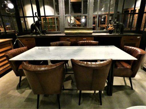 Strakke eettafel met metalen frame en wit marmeren blad-1