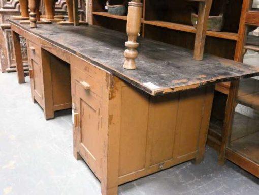 Vintage massief houten werkbank / bureau-1