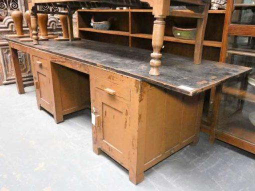 Vintage massief houten werkbank / bureau-2