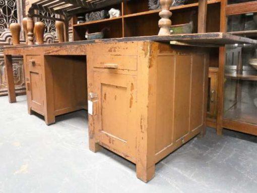 Vintage massief houten werkbank / bureau-3