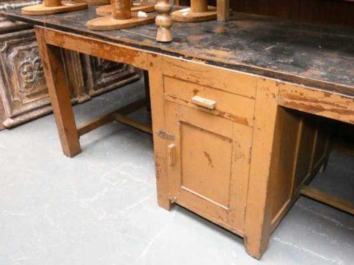 Vintage massief houten werkbank / bureau-4
