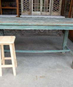 Vintage groene houten bar tafel-1