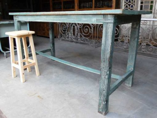 Vintage green wooden bar table-2