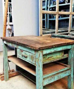 Vintage turquoise worktable-2