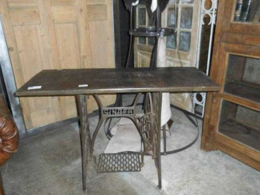 Table with frame of an antique Singer sewing machine-1