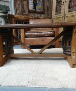 Cart wheel coffee table -2