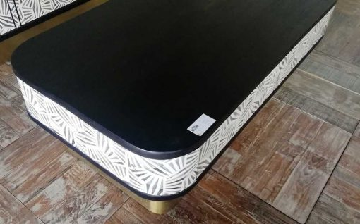 Unique black and white coffee table with gold colored leg-3