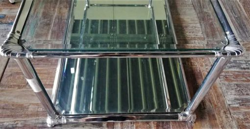 Antique coffee table with glass top and mirrored bottom-3