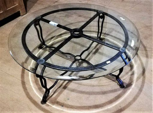 Vintage round glass coffee table-1
