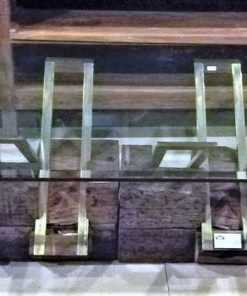 Vintage coffee table made of robust wooden base and glass plate-1