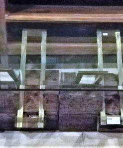 Vintage Salontafel Van Robuuste Houten Onderstel En Glazen Plaat-1