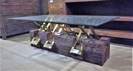 Vintage coffee table made of robust wooden base and glass plate-2