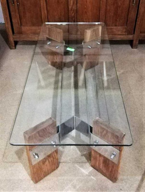 Vintage coffee table with glass plate and wooden base-1