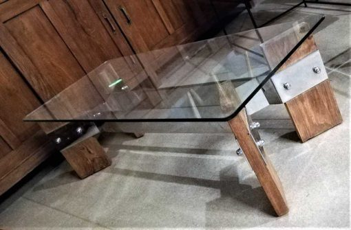 Vintage coffee table with glass plate and wooden base-2