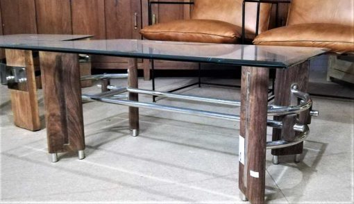 Vintage coffee table with wooden base and glass plate.-1
