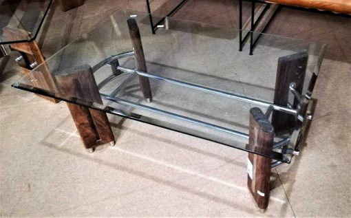 Vintage coffee table with wooden base and glass plate.-2