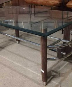 Vintage coffee table with wooden base and glass plate.-3