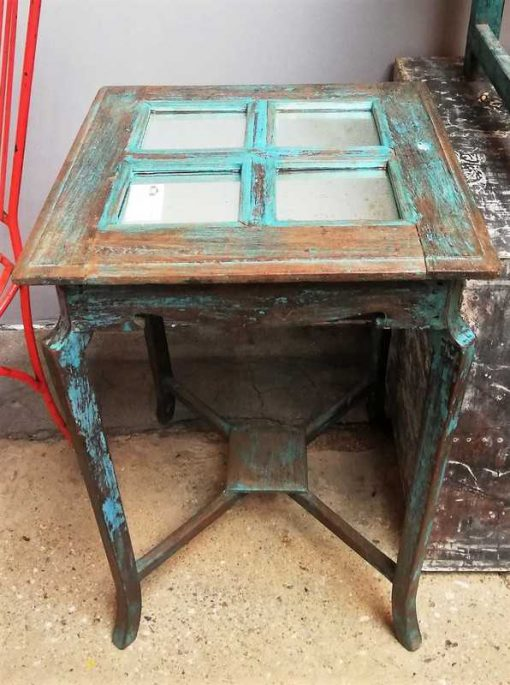 Blue Vintage side table with mirrors-1