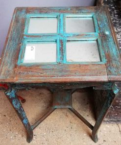 Blue Vintage side table with mirrors-2