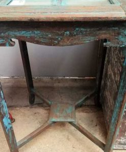 Blue Vintage side table with mirrors-3