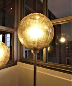 Vintage bronze lamps with yellow glass ball-2